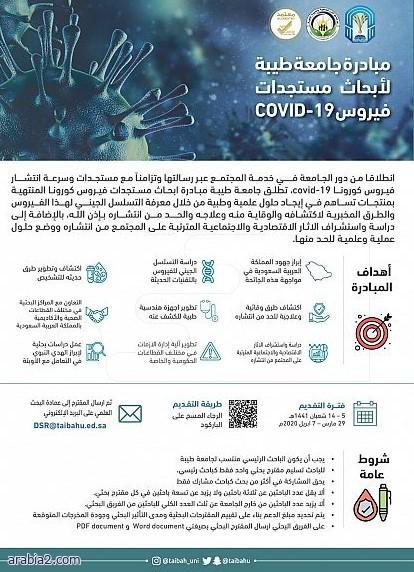 جامعة طيبة تطلق مبادرة لتقديم أبحاث علمية عن فيروس كورونا المستجد